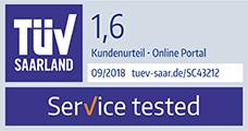 TÜV Saarland Siegel Service tested