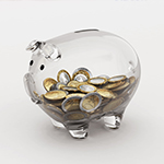 Transparentes Sparschwein mit Euromünzen