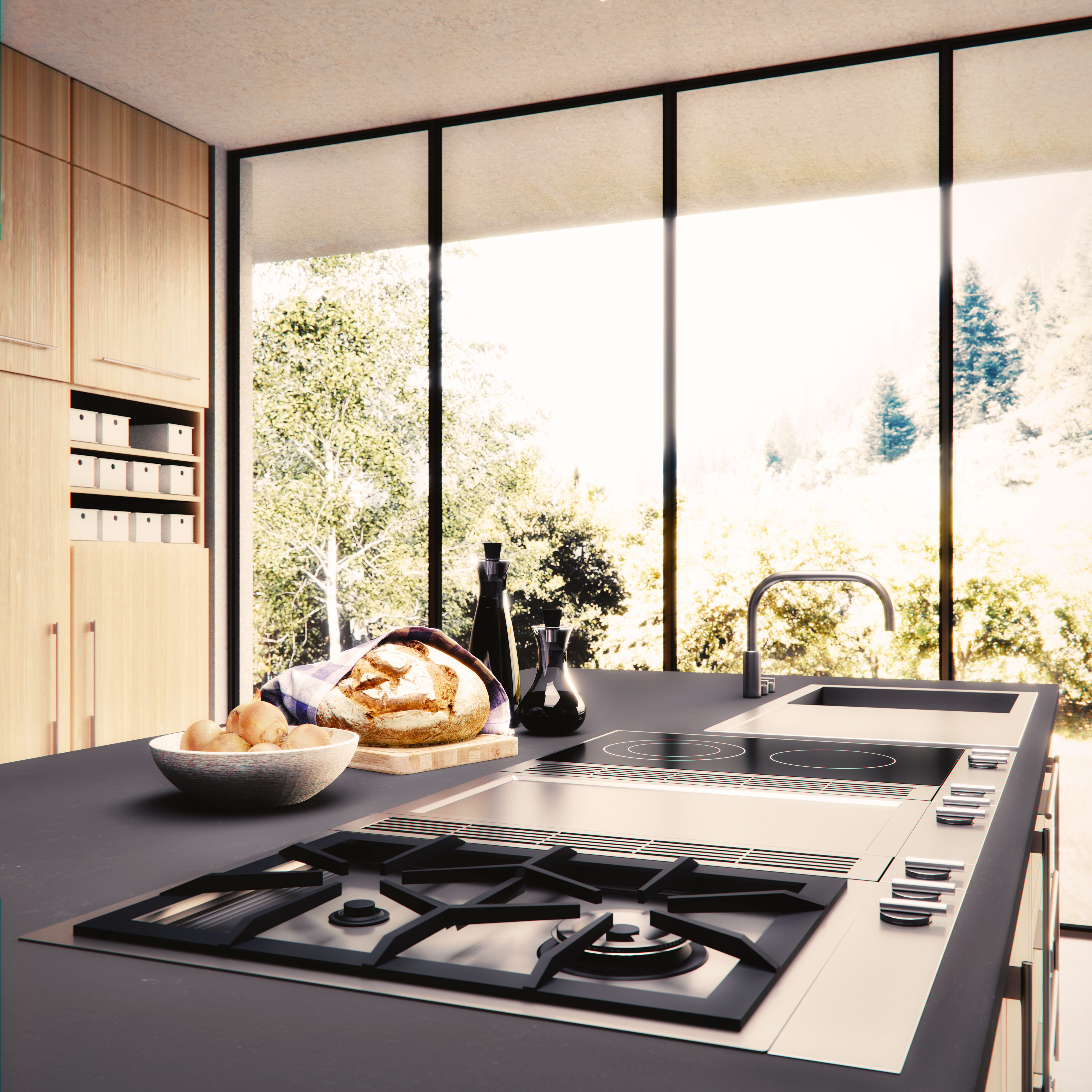3D-Render Küche mit Gasherd