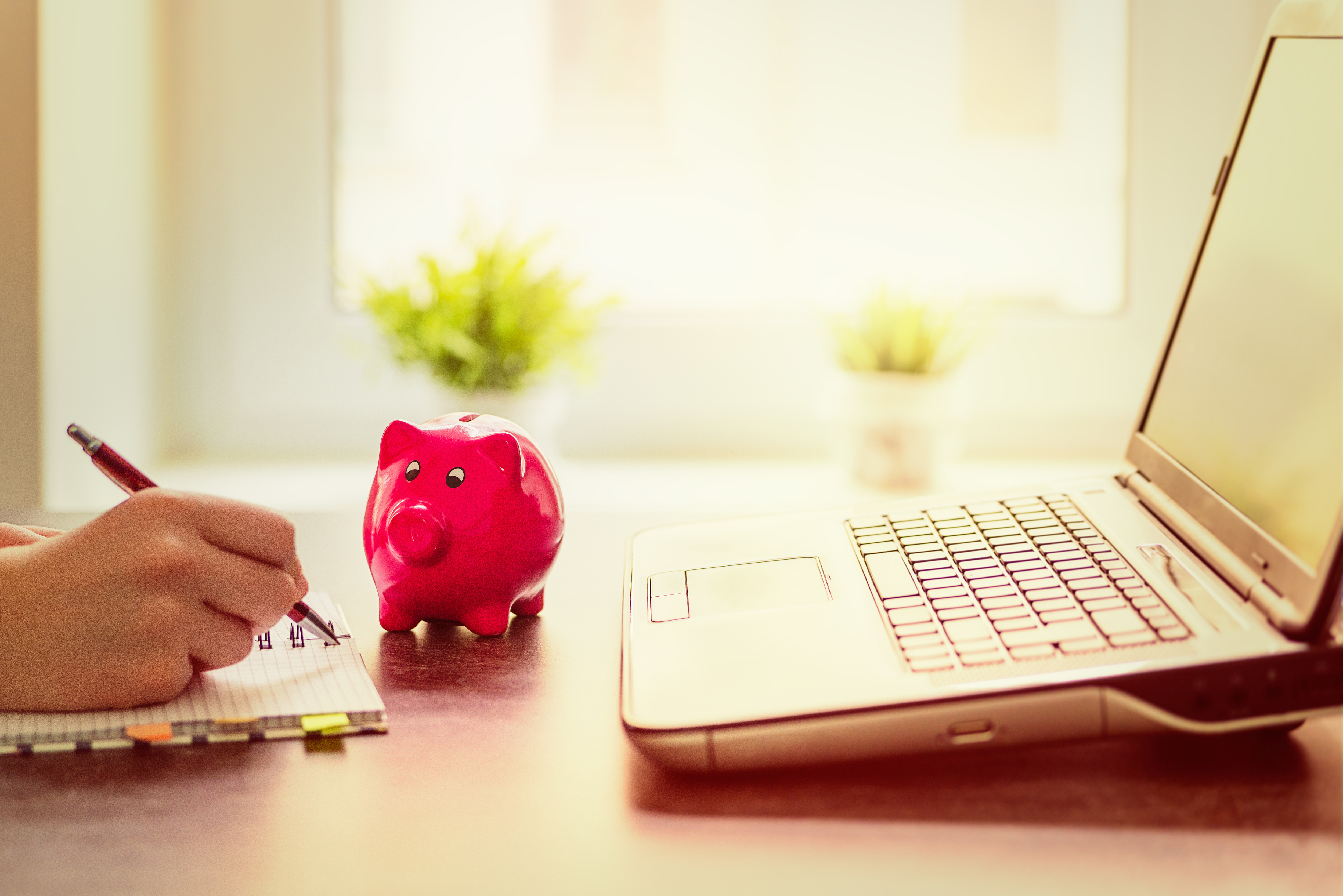 Freu schreibt in Notizblock vor Sparschwein und Laptop