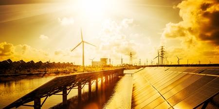 Windrad und Solarfelder