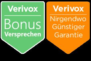 Verivox Bonusversprechen und Nirgendwo-Günstiger-Garantie Siegel